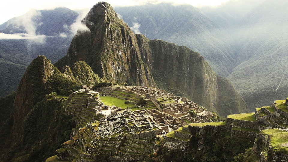 The lost city of Machu Picchu along the Inca Trail in Peru